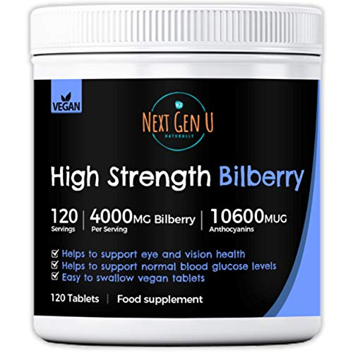 Bilberry Supplement – 120 High Strength Vegan Bilberry Tablets | 4000mg Bilberry Extract per Serving | Helps Support Eye and Vision Health | Blueberry 10600MUG Anthocyanins | No Additives Gluten Free