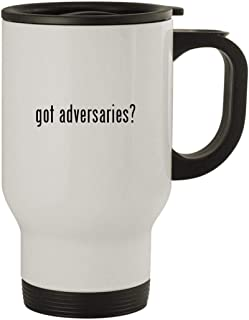 got adversaries? - Stainless Steel 14oz Travel Mug, White