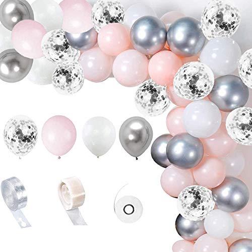 Luftballons rosa Weiß Silber,Girlande Ballonbogen Kit, rosa Weiß und Silber Luftballons Pack Bogen für Mädchen Geburtstag Baby Dusche Bachelorette Party Hochzeit Dekorationen