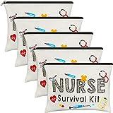 5 Pieces Nurse Makeup Bags, Funny Travel Cosmetic Pouch Nurse Gift for Women, Nursing Student, Nurse Practitioner, Nursing School Supplies Christmas Gifts Toiletry Bag (Nurse Survival Kit)