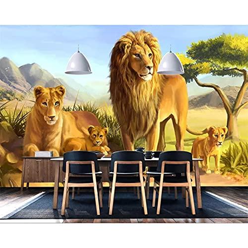 Papel pintado mural de decoración del hogar Animal León dibujos animados Fondo de habitación de niños Mural TV Fondo de sofá papel tapiz 3D 200x140cm