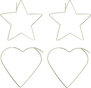 シン銅線フープイヤリングセットレディースBigハート&スターThreaderダングルフープ2ペア ゴールド