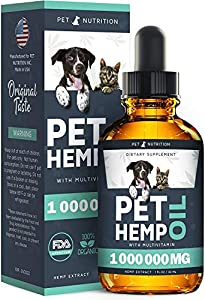 Pet Nutrition - Hemp Oil Dogs Cats - 100 000 MG - Helps Pets with Anxiety, Pain, Stress, Sleep, Arthritis, Seizures Relief - Hip Joint Health - 100% Natural Pure Drops, Organic Calming Treats