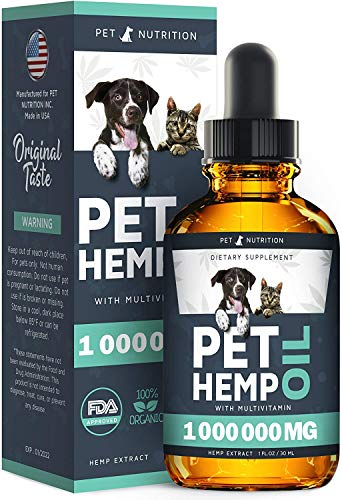 Pet Nutrition - Hemp Oil Dogs Cats - Helps Pets with Anxiety, Pain, Stress, Sleep, Arthritis, Seizures Relief - Hip Joint Health - 100% Natural Pure Drops, Organic Calming Treats (60 ml)