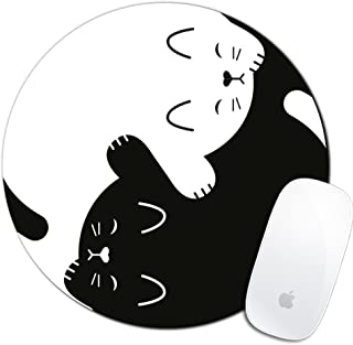 Royal Up Cat Custom Mouse Pad Gaming Mat Keyboard Pad Waterproof Material Non-slip Personalized Round Mouse pad (7.8x7.8x0.08Inch)