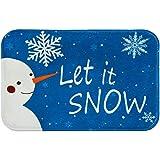 Hleane Weihnachten Fußmatte Deko Türmatte Verdickte Fußmatte Flanell Anti-Rutsch Textmuster für Außen und Innen 40 * 60cm Blau