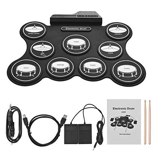 LJRkg Elektronische accukit met elektronische drumpad, dual speaker stereo, opnamefunctie, afspeeltijd, accu-pedaal, geschikt voor communicatie