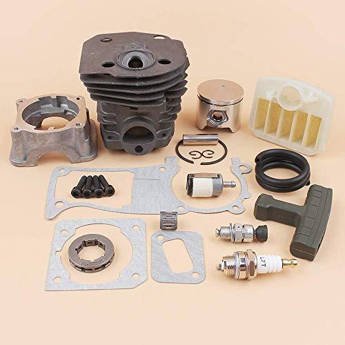 Juego de juntas de filtro de aire de pistón de culata de motor de 44 mm compatible con HUSQVARNA 340, 345, 350, 346, 346XP 351353, piezas de reacondicionamiento del motor de motosierra