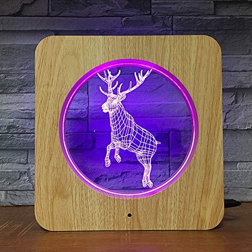 Ciervos estilo animal 3D LED ABS luz nocturna DIY lámpara lámpara de mesa niños dormitorio decoración regalo