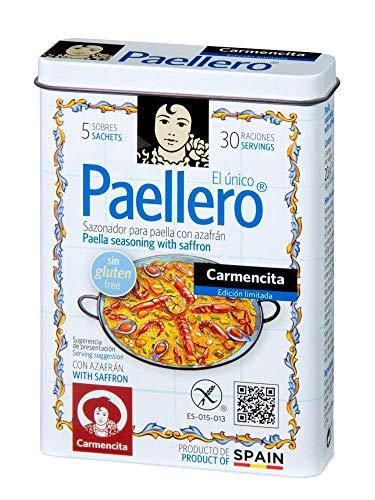 Carmencita. Paellero Paella Seasoning with Saffron (5 sackets) in metallic Tin. 20g (0.71oz)