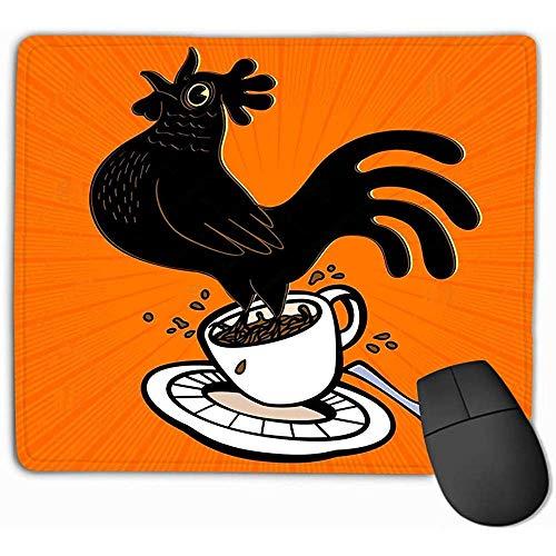 Aangepaste Muis Pad,30X25CM Unieke Bedrukte Muis Mat Ontwerp Energetische Espresso Cartoon Haan Verende Koffie Beker Zingende Cockcrow Vroege Vogel Wakker Sterke zonsopgang