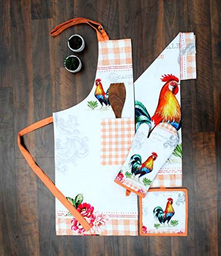 AMOUR INFINI Kitchen Linen Set Farm Rooster   100% Natural Cotton  Set of Apron, Oven Mitt, Pot Holder, Kitchen Towels   Eco - Friendly & Safe
