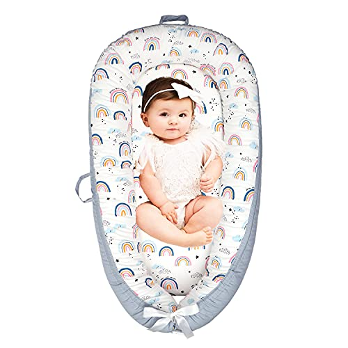 EAQ Baby Lounger Baby Nest for Co Sleeping Baby Bassinet Soft Breathable Perfect for Newborn Gift 100% Cotton Napping or Traveling for 0-18 Months
