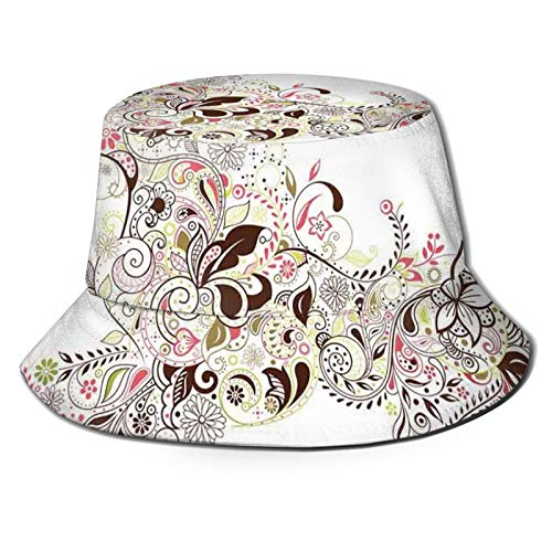 Summer Fisherman Sailor Fiddler Driver Hat, abstracto floral flor de caballo hoja ornamental Paisley patrón Swirl ilustraciones