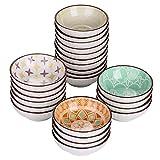 vancasso Tulip Platos para Aperitivos 24 Piezas Mini Cuencos de Salsa Aceitunas, Pequeño Plato de Porcelana 8.8cm 70ml Colores- Mandala