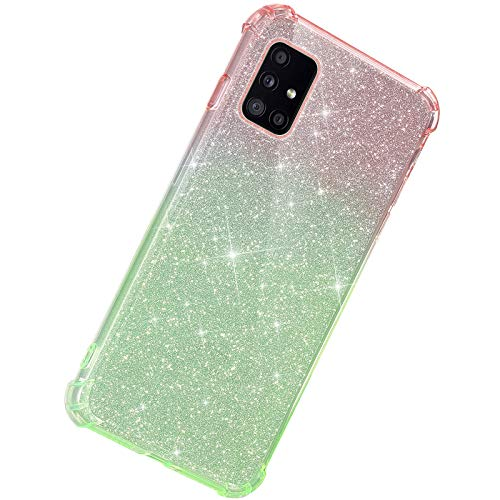 Herbests Kompatibel mit Samsung Galaxy A71 Hülle Durchsichtig Farbverlauf Glänzend Kristall Glitzer Transparent TPU Silikon Handyhülle Ultradünn Stoßfest Bumper Case Schutzhülle,Rot Grün