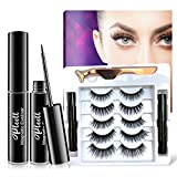 Updated Magnetic Eyelashes with Eyeliner,5 Different Styles Natural & Dramatic Makeup Waterproof Magnetic Lashes with 2 Magnetic Eyeliner-No Glue Needed