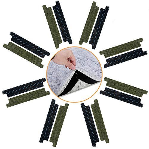CAVEEN Antirutschmatte für Teppich 16 teilig, Teppichgreifer Antirutsch Aufkleber Teppich Antirutschunterlage Rutschschutz waschbar wiederverwendbar Antirutschstreifen für Teppich, schwarz je 18*3cm