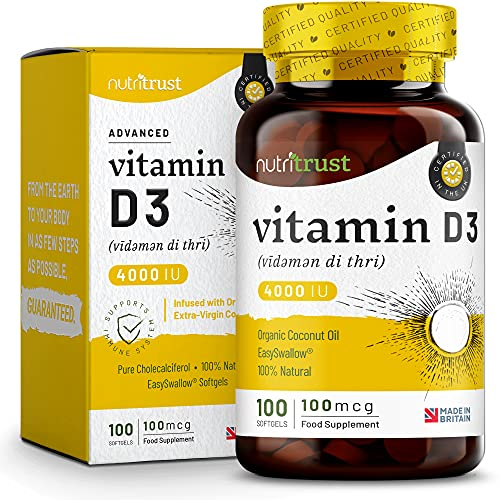 Scientifically Optimal Vitamin D3 - 95% Bioavailable with Micro-Sphere Technology & Extra Virgin Coconut Oil for High Absorption - 4000iu, 100 Softgels