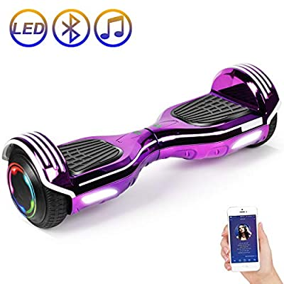 "SISIGAD Hoverboard Self Balancing Scooter 6.5"" Two-Wheel Self Balancing Hoverboard with Bluetooth Speaker Electric Scooter for Adult Kids Gift UL 2272 Certified 138A Series - Plating Purple"
