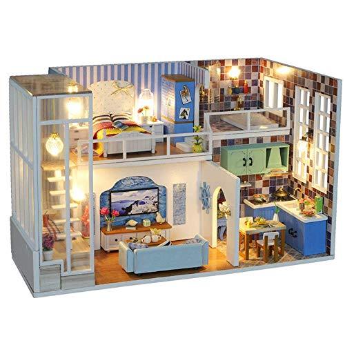 HUATAN Kit de casa de muñecas DIY Miniatura con Muebles DIY Kit de casa de muñecas de Madera 1:24 Escala Sala Creativa para el Regalo del día de San Valentín Idea Kits de artesanía de la casa