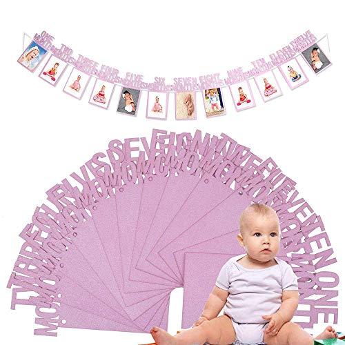 Bilderrahmen Banner zum zuerst Geburtstag, Baby 1-12 Monate Foto Girlanden aus Glitter Karte Papier für Babydusche Party Deko, Kinderzimmer Party Prop. (Pink)