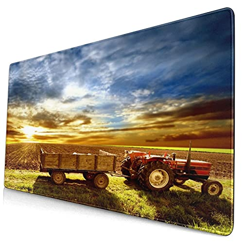 Tapis de souris mignon,champ de tracteur paysager agricole agricole Sunset S,tapis de souris en caoutchouc antidérapant rectangle pour ordinateur de bureau,tapis de bureau de joueur,15,8