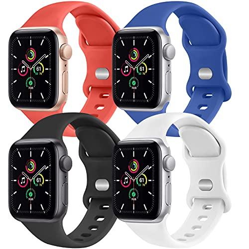 CTZL Correa Compatible con Apple Watch 38mm 40mm 42mm 44mm, Pulsera de Repuesto para iWatch Series SE 6 5 4 3 2 1 (42mm/44mm M/L, Rojo/Azul/Blanco/Negro)