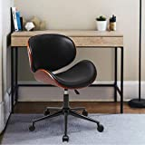 JOYBASE Home Office Desk Chair, Bentwood and Leather Swivel Chair, Adjustable Heigh, Brown
