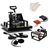SHZOND 5 in 1 Heat Press Machine 15'x 15' Heat Transfer Machine for T Shirts Hat Mug Plate (5 in 1)