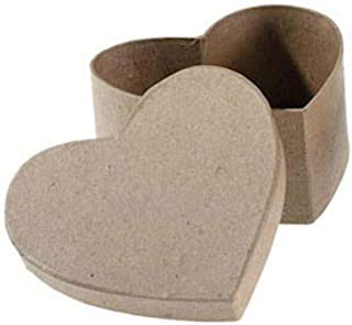 """Darice 3"""" Small Heart Paper Mache Boxes with Lids - Package of 12 Boxes"""