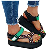 Aniywn Womens Open Toe Ankle Strap Platform Wedge Shoes Casual Lightweight Flatform Wedge Sandals Summer Beach Shoes Green