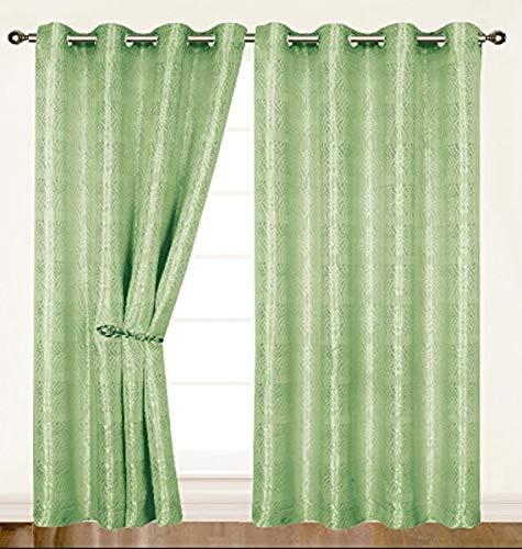 Dainty Home Criss-Cross Helen Grommet Window Panel, 55 by 84-Inch, Green