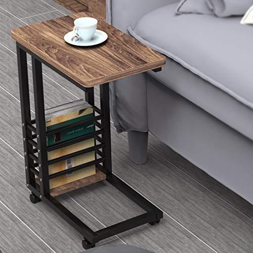 DEWEL サイドテーブル デスク 机 ソファサイドテーブル ベッドテーブル ナイトテーブル コ字型 キャスター付き