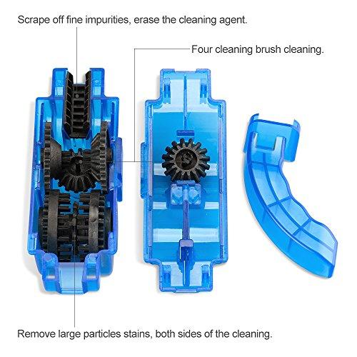 Fahrrad Kettenreinigungsgerät, Furado Kettenreiniger, Reinigung Scrubber Pinsel-Werkzeug im Set mit Ritzelbürste, Schnelles sauberes Werkzeug für Alle Arten von Fahrrad Kettenreinigung (blau) - 2