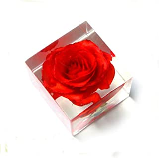 Clear acrylic rose flower paperweight