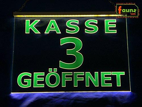 """LED Leuchtschild Kassenschild """"Kasse 3 geöffnet"""" grün auf transparent oder Ihr Wunschtext in wählbarer Farbkombi mit Steckernetzteil 230V ©faunz"""