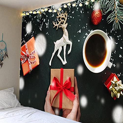Tapiz Colgante de Pared Tapices de Pared,Feliz Navidad Fiesta de Navidad Año Nuevo Elk Wagon Moon Muñeco de Nieve Regalo Decoración del hogar Tapices para el Dormitorio Sala de Estar