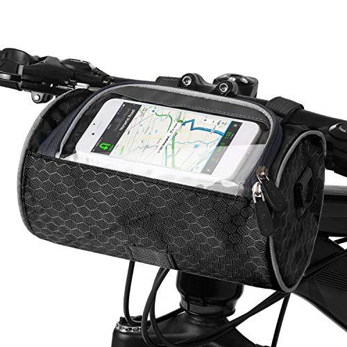 Lixada Fahrrad Lenkertasche wasserdichte Fahrradtasche mit Touchscreen PVC-Sichtfenster, Umhängetasche Multifunktionale Fahrradtasche für Fahrräder Vorne Fahrradpackung