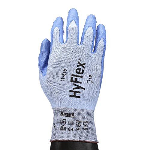 Ansell HyFlex 11-518 Schnittschutz-Handschuhe, Mechanikschutz, Blau, Größe 8 (12 Paar pro Beutel)