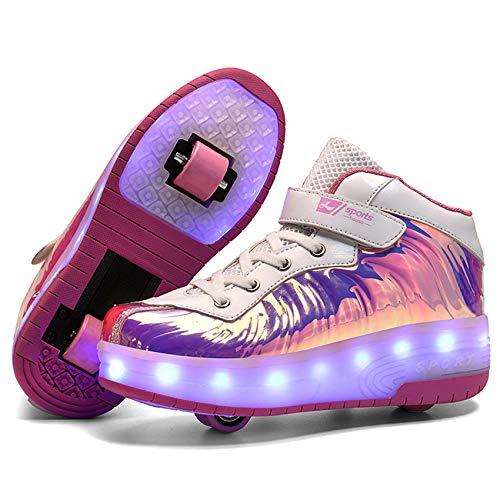 FR&RF Rodillo de los niños Dos Ruedas Luminoso Que Brilla Zapatillas de Deporte del patín de luz LED Zapatos Zapatos para niños Muchachas de los Muchachos de Carga USB Zapatos con Ruedas,Rosado,36