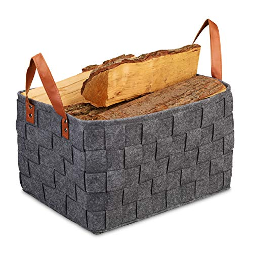 Relaxdays Aufbewahrungskorb Filz, faltbare Aufbewahrungsbox, Filzkorb mit Henkeln, HxBxT: 26 x 40 x 30 cm, dunkelgrau