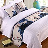 ybbed Bed Runner Bed Runners Bed Scarf Hotel Bedding Cloth high-Grade Hotel Bed Scarf Hotel Bed Flag Bed Tail pad Table Flag Bed Cover, Lotus Leaf Flower, 2m Bed (50x260cm)