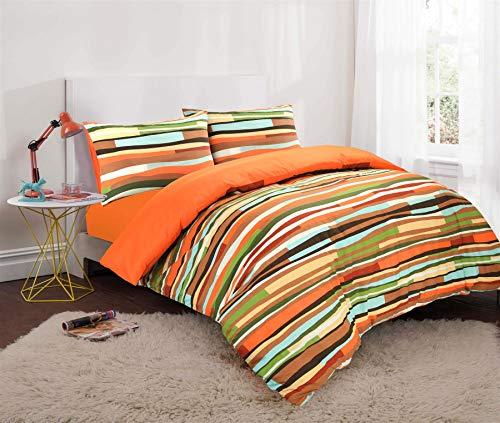 Nimsay Home Waves Multicoloured Striped Duvet Cover and Pillowcases Set (King, Orange)