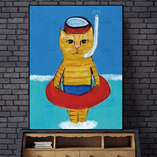 ganlanshu Cartoon-Plakate und Leinwanddruckkatze Tierkunstdruck Familienbilder,Rahmenlose Malerei-60X80cm