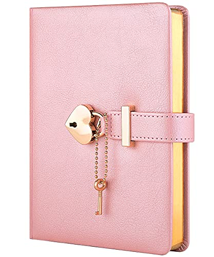 CAGIE Heart-Shaped Lock Diary with Key, Pink Diary with Lock for Girls, B6 Leather Locking Journals for Women, 5.3 x 7 Inch, Gold Gilded Edges
