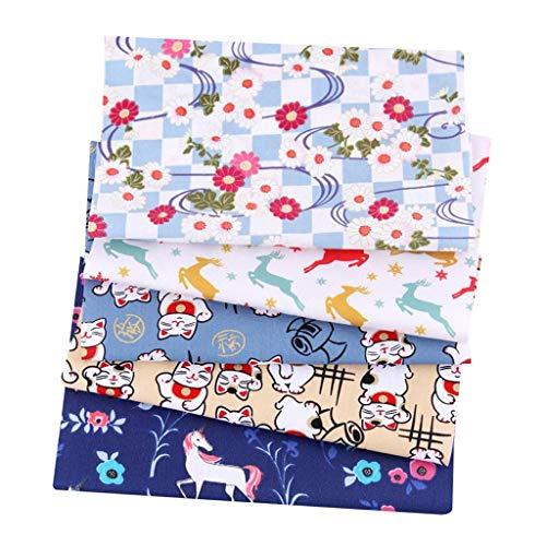 kowaku 5 Piezas de Tela de Algodón Impresa Estilo Japonés para Acolchar Manualidades Coser Bricolaje - Tipo 5, Individual