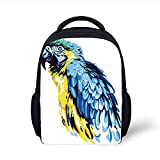 Kids School Backpack Animal,Painting Style Parrot Profile Exotic Creature Tropical Nature Theme,Navy Blue Light Blue Yellow Plain Bookbag Travel Daypack