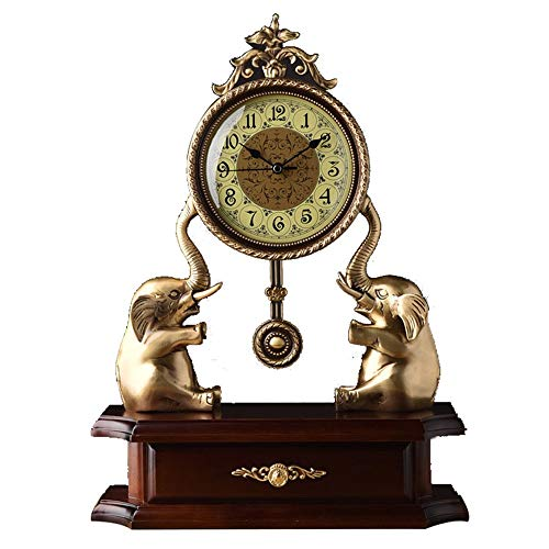 YoLiy Mantel Clocks Decorative Chic Table Clock Large Table Clock Living Room Atmospheric Indoor Bronze Clock Bronze Elephant Clock Excellent Gift Table Decor Ornament