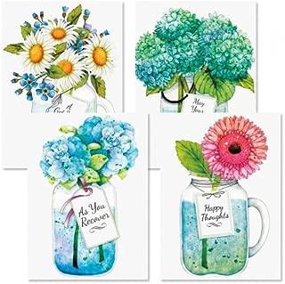 Mason Jar Get Well Greeting Cards - Set of 8 (4 Designs), Large 5